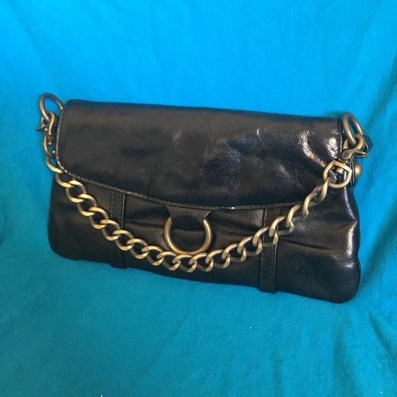 HOBO Handbags - HOBO Black Patent Leather Baguette Wristlet Clutch